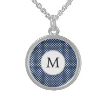 Personalized Monogram Polka Dots Pattern in Blue Sterling Silver Necklace