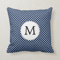 Personalized Monogram Polka Dots Pattern in Blue Throw Pillow