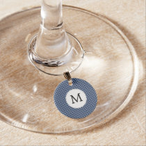 Personalized Monogram Polka Dots Pattern in Blue Wine Charm