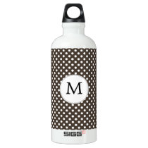 Personalized Monogram Polka Dots Pattern in Brown Aluminum Water Bottle