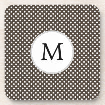 Personalized Monogram Polka Dots Pattern in Brown Beverage Coaster
