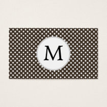 Personalized Monogram Polka Dots Pattern in Brown Business Card