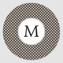 Personalized Monogram Polka Dots Pattern in Brown Classic Round Sticker