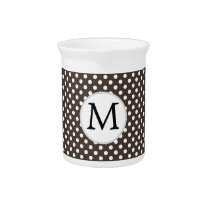 Personalized Monogram Polka Dots Pattern in Brown Drink Pitcher