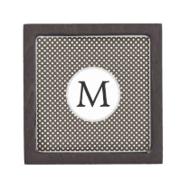 Personalized Monogram Polka Dots Pattern in Brown Jewelry Box