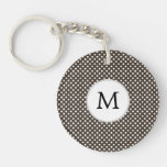 Personalized Monogram Polka Dots Pattern in Brown Key Chain