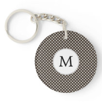 Personalized Monogram Polka Dots Pattern in Brown Keychain