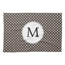 Personalized Monogram Polka Dots Pattern in Brown Kitchen Towel
