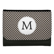 Personalized Monogram Polka Dots Pattern in Brown Leather Wallet For Women