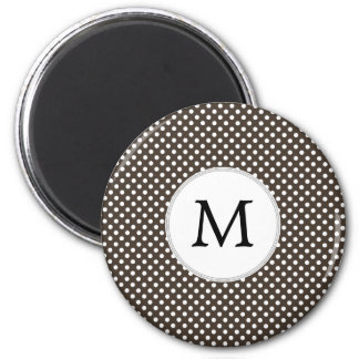 Personalized Monogram Polka Dots Pattern in Brown Magnet
