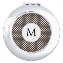 Personalized Monogram Polka Dots Pattern in Brown Mirror For Makeup
