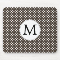 Personalized Monogram Polka Dots Pattern in Brown Mouse Pad