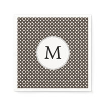 Personalized Monogram Polka Dots Pattern in Brown Napkin