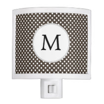 Personalized Monogram Polka Dots Pattern in Brown Night Light