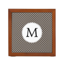 Personalized Monogram Polka Dots Pattern in Brown Pencil Holder