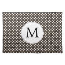 Personalized Monogram Polka Dots Pattern in Brown Placemat