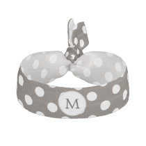 Personalized Monogram Polka Dots Pattern in Brown Ribbon Hair Tie