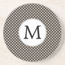 Personalized Monogram Polka Dots Pattern in Brown Sandstone Coaster