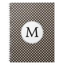 Personalized Monogram Polka Dots Pattern in Brown Spiral Notebook