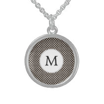 Personalized Monogram Polka Dots Pattern in Brown Sterling Silver Necklace