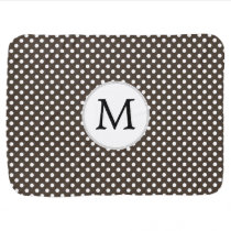 Personalized Monogram Polka Dots Pattern in Brown Stroller Blanket