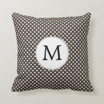 Personalized Monogram Polka Dots Pattern in Brown Throw Pillow