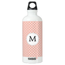 Personalized Monogram Polka Dots Pattern in Coral Aluminum Water Bottle