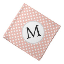 Personalized Monogram Polka Dots Pattern in Coral Bandana