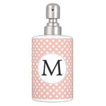 Personalized Monogram Polka Dots Pattern in Coral Bathroom Set