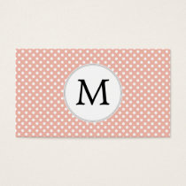 Personalized Monogram Polka Dots Pattern in Coral Business Card