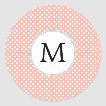 Personalized Monogram Polka Dots Pattern in Coral Classic Round Sticker