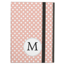 Personalized Monogram Polka Dots Pattern in Coral iPad Air Covers