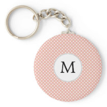 Personalized Monogram Polka Dots Pattern in Coral Keychain
