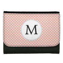 Personalized Monogram Polka Dots Pattern in Coral Leather Wallets