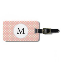 Personalized Monogram Polka Dots Pattern in Coral Luggage Tag