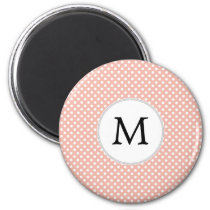 Personalized Monogram Polka Dots Pattern in Coral Magnet