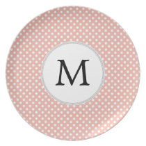 Personalized Monogram Polka Dots Pattern in Coral Melamine Plate