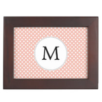 Personalized Monogram Polka Dots Pattern in Coral Memory Box