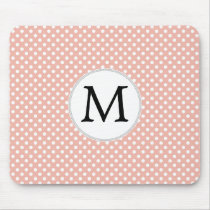 Personalized Monogram Polka Dots Pattern in Coral Mouse Pad