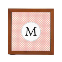Personalized Monogram Polka Dots Pattern in Coral Pencil/Pen Holder