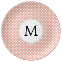 Personalized Monogram Polka Dots Pattern in Coral Plate