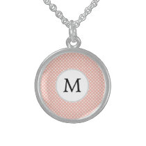 Personalized Monogram Polka Dots Pattern in Coral Sterling Silver Necklace