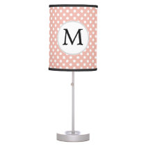 Personalized Monogram Polka Dots Pattern in Coral Table Lamp