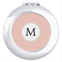 Personalized Monogram Polka Dots Pattern in Coral Vanity Mirror