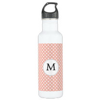 Personalized Monogram Polka Dots Pattern in Coral Water Bottle