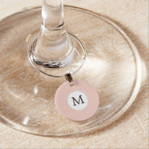 Personalized Monogram Polka Dots Pattern in Coral Wine Glass Charm