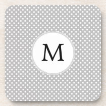 Personalized Monogram Polka Dots Pattern in Gray Beverage Coaster