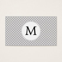 Personalized Monogram Polka Dots Pattern in Gray Business Card