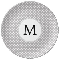 Personalized Monogram Polka Dots Pattern in Gray Dinner Plate