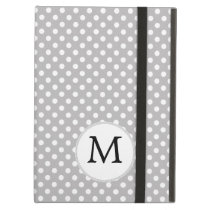 Personalized Monogram Polka Dots Pattern in Gray iPad Air Cases